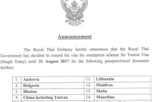 The Royal Thai Embassy hereby announces that the Royal Thai Government has decided to extend the visa fee exemption scheme for Tourist Visa (Single Entry) until 31 August 2017 for the following passport/travel document holders
