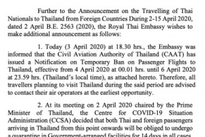 ANNOUNCEMENT on Temporary Ban on Passenger Flights to Thailand & Quarantine of Passengers in Government-Arranged Facilities