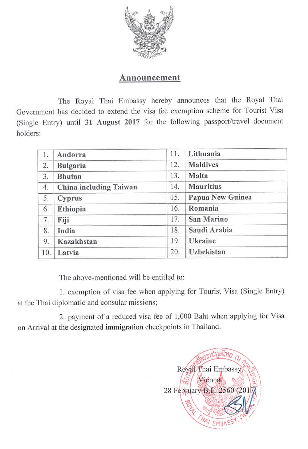 announcement on visa extension to 20 territories