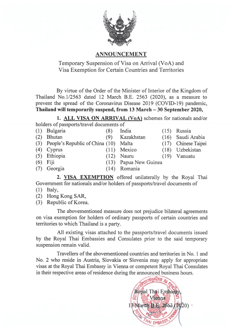 Announcement Temporary Suspension of VoA and Visa Exemption Scheme for Certain Countries and Territories